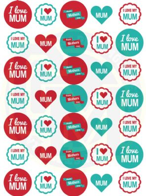 Mothers Day Stickers - 37mm Paper Rounds - Craft, Party Bags, Sweet Cones.